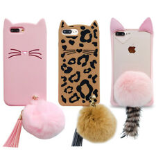 Cute3D Cartoon Beard Cat Plush Hairball Soft Silicone Case Cover For iPhone OPPO
