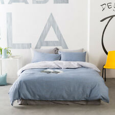 Stripe Blue Quilt Doona Cover Set Fitted Sheet Set Single Double Queen King Size
