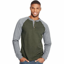 Hanes Men's Beefy-T Long-Sleeve Colorblock Henley O5811