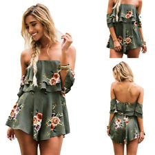Womens Jumpsuit Summer Beach Dress Holiday Playsuit Printed shorts Romper Ladies