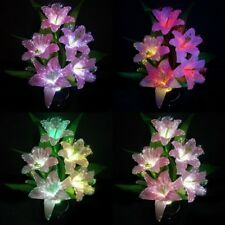 Colorful Lily Flower Change Potted Fiber Optic Lamp Home Party Wedding Decor LED