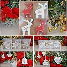 Festive decorations for Christmas with reindeer, hearts stars elegant gold