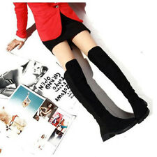 Fashion Womens Flat Boots Over The Knee Thigh High Suede Splice Shoes New Boots