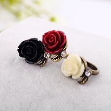 NEW Rose Flower Ring Band Wrap Bronze Rings Adjustable Jewelry Vintage Fashion