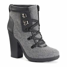 NEW! Juicy Couture Ankle Boots - Gray Suede w Black Faux Leather trim