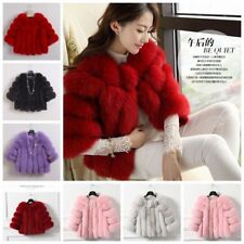 Ladies Faux Fur Slim Coat Outwear Warm Women Jacket Waistcoat Winter
