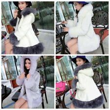 Ladies Faux Fur Jacket Hooded Warm Slim Waistcoat Women Outwear Coat Winter