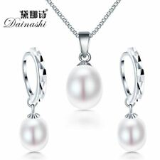925 Sterling Silver and Genuine Fresh Water Pearl Earrings And Pendant for women