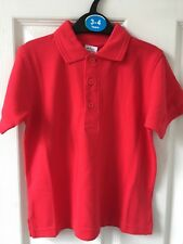 BNWOT School Polo T-Shirt. Red. Boys or Girls. Age 3 - 10 Years