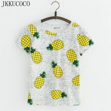 Pineapple Print Tees Short Sleeve T-shirt Women t shirt Summer Cotton t-shirt Wo