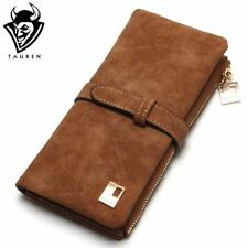 Women Wallets Drawstring Nubuck Leather Zipper Wallet Women's Long Design Purse