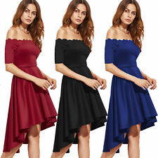 Wavy Party Evening Cocktail Dovetail Mini Dress Womens Short Sleeve Off Shoulder
