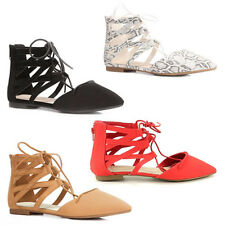 WOMENS LADIES GLADIATOR STYLE POINTED TOE CUT OUT TIE UP SHOES SADALS SIZE 3-8