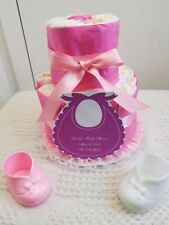 2 Tier Personalized Diaper Cake Baby Shower Centerpiece Gift Girl Boy Unisex