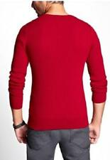 NEW MENS GUESS THOMPSON V NECK RED BLUE RIBBED LONG SLEEVE PULL OVER SWEATER XXL