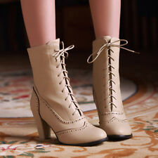 Women Block High Heel Mid-Calf Boots Cut Out Lace Up Round Toe Winter Shoes