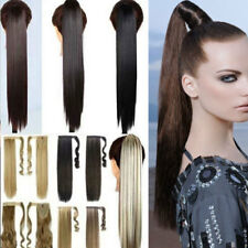 US 100% Real Thick Clip In Human Remy Hair Extensions Wrap On Ponytail Synthetic