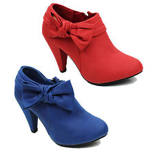 WOMENS LADIES HIGH CUBAN HEEL BOW DETAILS ZIP UP LOW ANKLE COURT SHOES SIZE 3-8
