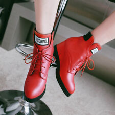 Women Winter Ankle Boots Platform Wedges High Heels Lace Up Red Shoes Black