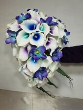 Peacock Orchid Calla Lily Cascading Bridal Wedding Bouquet & Boutonniere