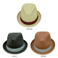 Men's Paper Woven Straw Fedora Hat With Two Tone Hat Band - FREE SHIPPING
