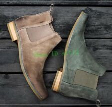Suede Leather Mens Western Cowboy Ankle Boot High Top Ankle Boot Vintage Shoes