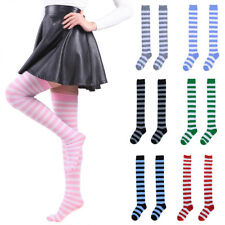 Women Girls Rainbow Striped Over The Knee Thigh High Stockings Long Cotton Socks