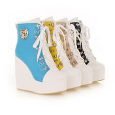 Womens Ladys Lace Up High-TOP Sneakers Shoes Candy Colors Ankle Wedge Boots #