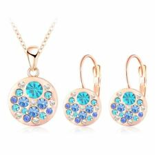 Women Round Pendant Rose Gold Earrings Austrian Crystal Necklace Jewelry Sets