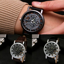 Men's Casual PU leather Band Stainless Steel Hollow Business Quartz Wrist Watch