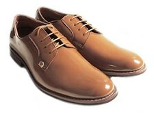 NEW MENS LACE UP PATENT OXFORDS CLASSIC LEATHER LINED DRESS SHOES FORMAL BROWN M