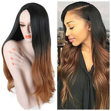 Long Straight Wavy Ombre Wigs for Women Black To Brown Synthetic Wig Middle Part