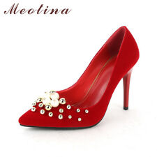 Women Stiletto High Heels Wedding Bridal Shoes Red Pearls Pointed Toe Pumps