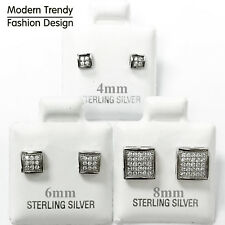 Square Princess Cut MicroPave with CZ Stud 925 Sterling Silver Post Earrings