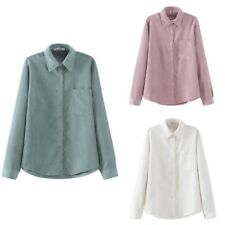 US Women's Corduroy Lapel Long Sleeve Tops Blouse Shirt Casual Button T-Shirt