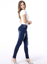 Ripped Destroped Washed Worn Skinny Tight Denim Jeans Long Trousers Pants Women