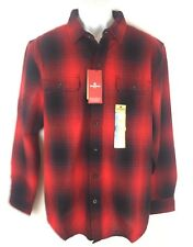 NEW Woolrich Mens Ultimate Flannel Soft Brushed Cotton Campfire Red Plaid Shirt