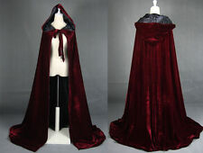 Hooded Velvet Halloween Cloak Cape Wizard Vampire Witch Wedding Wicca Medieval
