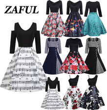 2018 Celeb Women Ladies Retro Swing dress Pinup Floral Skater Party Prom Dress