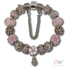 NEW Girl's Silver Plated Daisy Charm Bracelet with Pink Charms- For Child