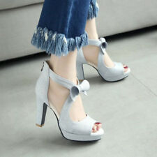Women High Heels Platform Party Shoes Bow Peep Toe Zipper Pumps