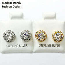 Two Tone Halo Round CZ Stud 925 Sterling Silver Post Earrings