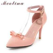 Women Ankle Strap High Heels Stilettos Shoes Bow Pointed Toe Pumps