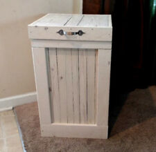 Rustic Wood Trash Can, Trash Bin, Kitchen Trash Can, Garbage Can, White Wash