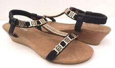 WOMENS/LADIES Mid Wedge SANDALS Low Heels AUYI Bling Ankle Strap Comfy Shoes