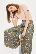 TOPSHOP Floral Palazzo Flare Wide Leg Satin Jacquard Trousers UK 8 10 12 14 16
