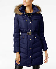 Michael Kors Faux Fur Trim Belted Down Puffer Coat