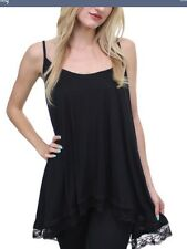 BNWT LADIES FLAWLESS BLACK LONG LACE TRIMMED CAMI STYLE TOP SIZE L LARGE 14 16