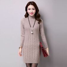 Women Winter Autumn Turtleneck Long Sleeve Knitted Long Sweater Dress