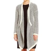NWT EILEEN FISHER $328 L Nat Org Cotton Boucle Stripe Cascade Cardigan Sweater